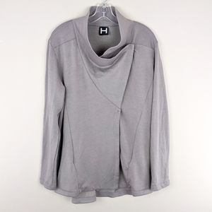 H by Bordeaux | Gray Wrap Button Cardigan